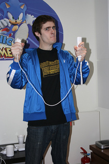 James with the Sonic & Mario tracksuit.